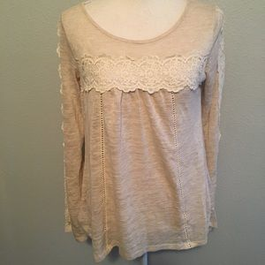 Jolt Crochet Lace Long Sleeve Top Medium